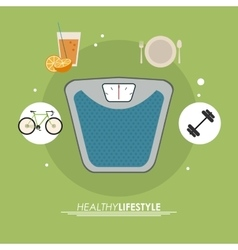 Weight juice bike icon Healthy lifestyle design vector
