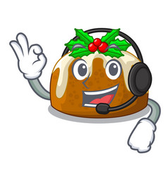 With headphone christmas pudding isolated on the vector