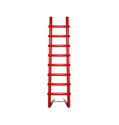 Wooden ladder in red design with shadow leading up vector