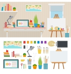 Working place with artistic tools vector