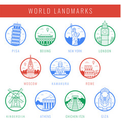 world landmarks travel and tourism landmarks vector image