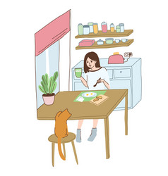 Young girl has a breakfast at home vector