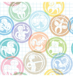 zodiac sign stamps pattern vector image