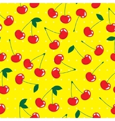 Cherry seamless pattern background vector image