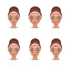 Correct application of blush vector image