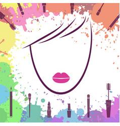 face of beautiful girl logo template makeup vector image