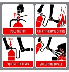 Fire extinguisher instruction vector image