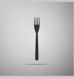 fork flat icon on grey background vector image vector image