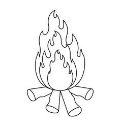 Monochrome silhouette of bonfire icon vector