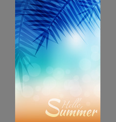 summer greeting card with blurred background and vector image
