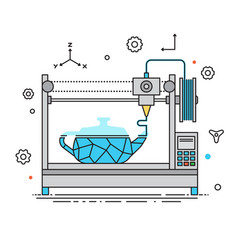3d printer lines design the vector image