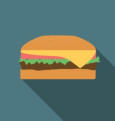 Flat design burger icon with long shadowFlat vector image vector image