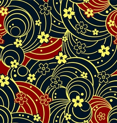 Floral night kimono pattern vector image