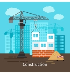 House construction with building crane vector image vector image