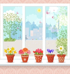 cute flowers planted in ceramic pots on a vector image