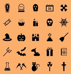 Halloween color icons on orange background vector image