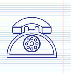 retro telephone sign navy line icon on vector image