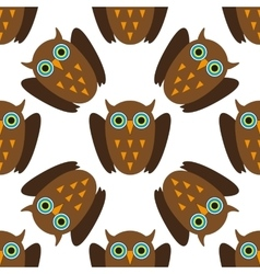 Seamless pattern with Brown owls vector image vector image