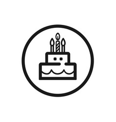 birthday line icon on a white background vector image vector image