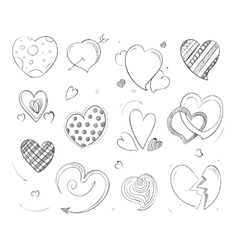 Cute doodle hearts love pencil drawn vector image