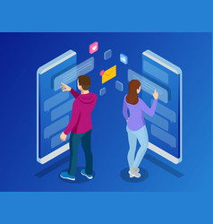 isometric woman and man typing on mobile vector image vector image