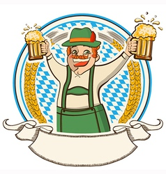 oktoberfest label with man and glasses of beer vector image vector image