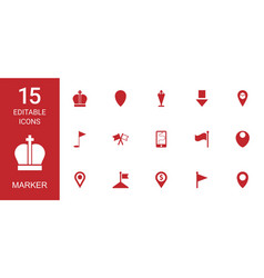 15 marker icons vector image