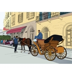 a carriage in the street vector image