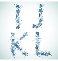 Alphabet water drop ijkl vector image