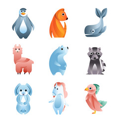 animals in a geometric flat style with use of vector image