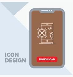 api application coding development mobile line vector image