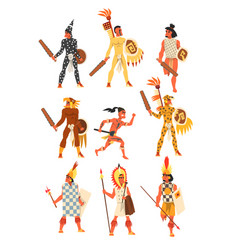 armed tribal male warriors set tribe members vector image