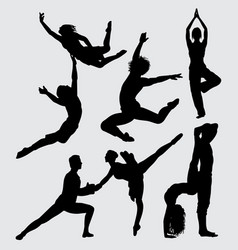 ballerina and yoga sport silhouette vector image