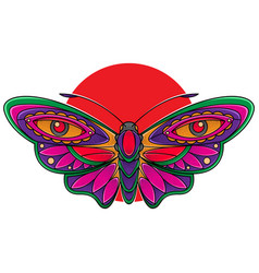Beautiful butterfly flash tattoo vector