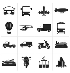 Black Transportation and travel icons vector image