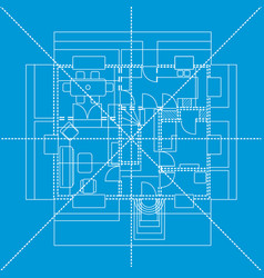 Blue floor plan vector