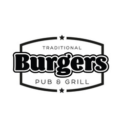 burgers vintage sign black logo vector image
