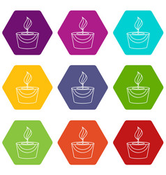 candle icons set 9 vector image