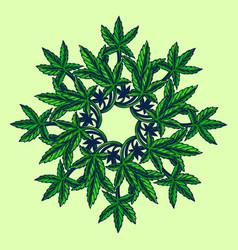 cannabis leaf marijuana mandala vector image