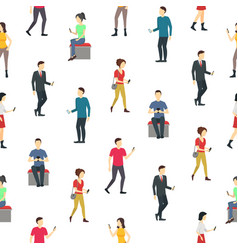 cartoon characters people watch cell phones vector image