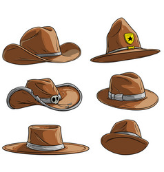 cartoon different caps and hats icon set vector image