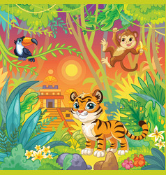 cartoon wildlife animals landscape stock vector image