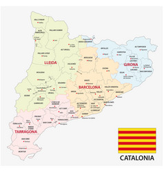 catalonia administrative and political map with vector image