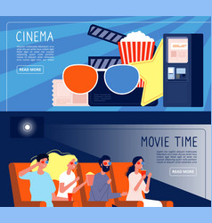 cinema people banners happy couple watching films vector image