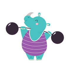 Circus rhinoceros animal lifting heavy barbell vector