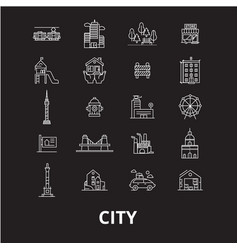 city editable line icons set on black vector image