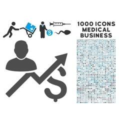 Client Sales Chart Icon with 1000 Medical Business vector