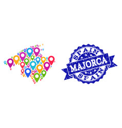 Collage map of majorca with map pins and textured vector