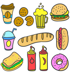Collection of food various style doodle set vector