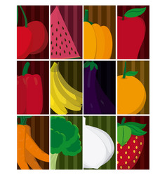 collection of fruits and vegetables cartoons vector image